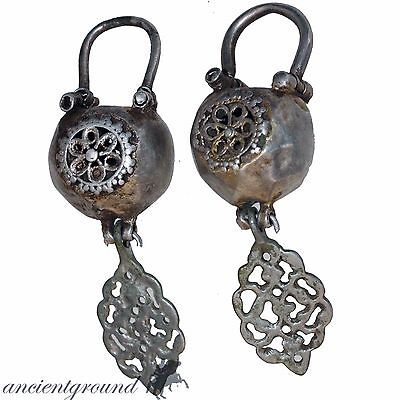 Scarce , Pair Of Silver European Decorated Earrings Circa 1200-1300 Ad
