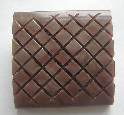 Large Square Carved Art Deco Mottled Light Brown Casein Button 1930's