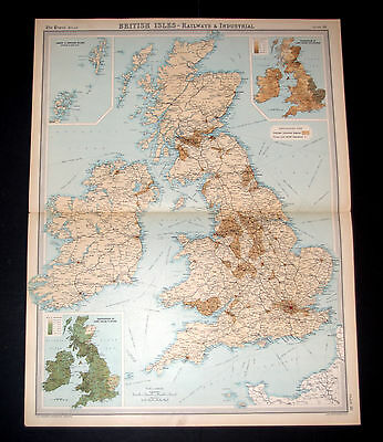 TIMES Map of BRITISH ISLES - RAILWAYS & INDUSTRIAL Plate 16, 1922