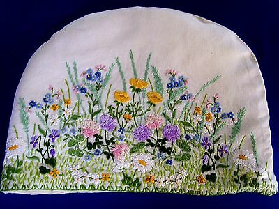 Vintage Lg Linen Hand Embroidered Both Sides Tea Cosy Clover Buttercups Stunning