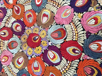 Hungarian Antique Hand Embroidered Silk Matyo Round Cover Textile Koloska