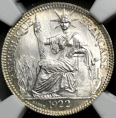 1922 NGC MS 66 FRENCH INDO CHINA Silver 10 Cent France Colony Coin (16111501C)