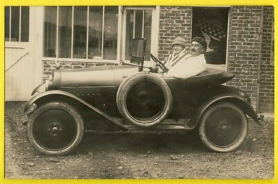 cpa CARTE PHOTO Ancienne CAYEUX sur MER AUTOMOBILE VOITURE Pub Semelle MICHELIN