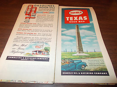 1948 Humble TEXAS Vintage Road Map / Great Cover Graphics Lucas Gusher, Beaumont