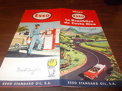 1960 Esso Costa Rica Vintage Road Map / Nice Graphics / Scarce Map