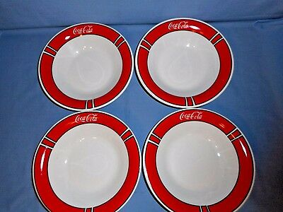 "Lot/Set 4 Gibson Coca-Cola Dinnerware Soup Bowls 8 1/8"" Dia."
