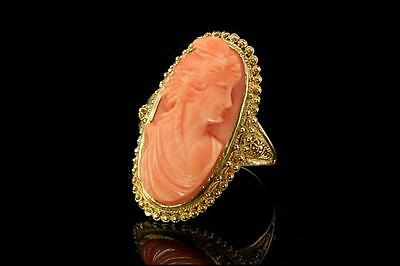 Antique Victorian Carved Pink Coral Lady Cameo 14K Gold Ring