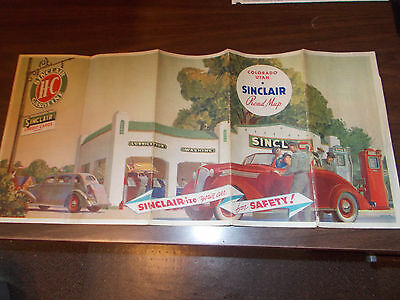 1937 Sinclair Colorado/Utah Vintage Road Map / Great Gas Station Cover Art