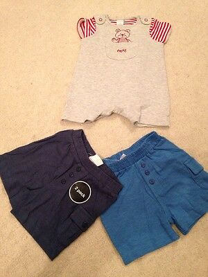 2 New Bnwt Pairs Baby Boys Shorts, & Romper Dungaree Set. F&f Next 0-3 Months
