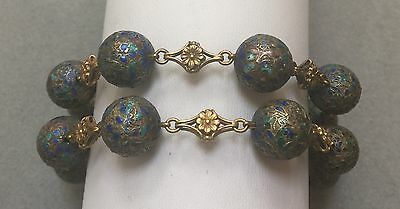 Antique Chinese Silver enamel beads with 18K gold links bracelet or choker