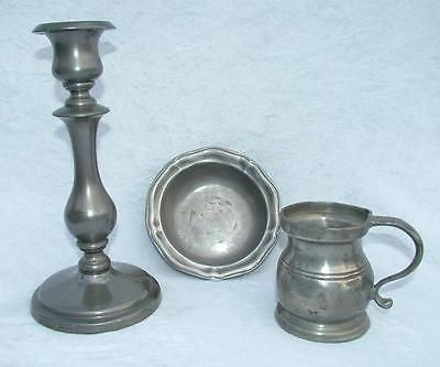 "3 x OLD ANTIQUE PEWTER 1/2 PINT YATES & BIRCH TANKARD 9"" CANDLESTICK + BOWL"