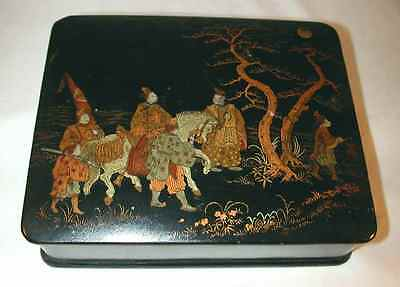 Antique Japanese Lacquered Hand Painted Box Six Men & Horse Proceeding at Night