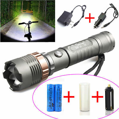 Tactical Police CREE XML T6 12000LM LED Zoom Flashlight 18650 Battery Charger