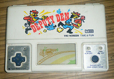 Vintage c1982 Vtech Tri-Screen Handheld Electronic Game - Deputy Den (Faulty)