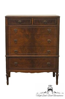 1920's Antique Bookmatched French Regency Style 36″ Chest of Drawers