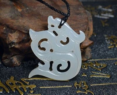 Fashion Natural White Jade Hand Carved Dragon Amulet Hollow Pendant Necklace