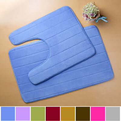 Anti Slip Memory Foam Toilet Bath Floor Mat Bathroom Pedestal Pad Rug Washable