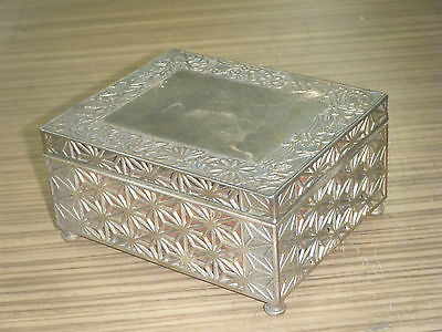 Vintage c1940's Chinese Pewter Wood Lined Cigarette Box