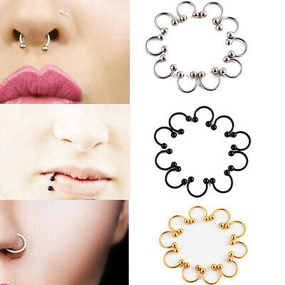 10Pcs Surgical Steel Open Nose Ring Hoop Body Piercing Stud Septum Ear Ring