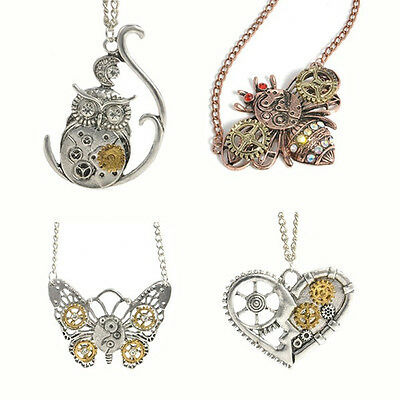 Steampunk Wheel Gear Heart/Butterfly /Owl/ Bee Pendant Long Chain Necklace