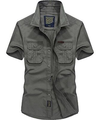 HOT Mens Military Style Casual Shirt Army Short Sleeved Work Cotton Dress Shirts