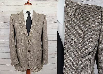 Vtg Single Breast 2 Button Brown Harris Tweed Jacket Circa 1980s -40- DF95