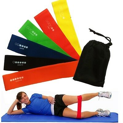6 Level Resistance Exercise Loop Bands Gym Fitness Natural Latex set of 6 Band