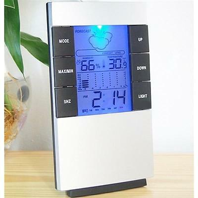 Digital LCD Temperature Humidity Gauge Meter Clock Indoor Thermometer Hygrometer