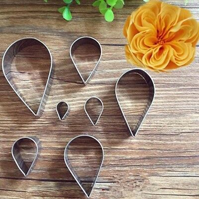 7Pcs Stainless Steel Rose Petal Cookie Cutter Pastry Mold Cutter Cake Decorating
