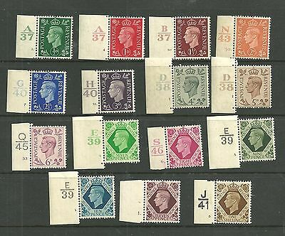 1937 Definitive set of 15 with Cylinder/control numbers( incl. elusive 11d).Mint