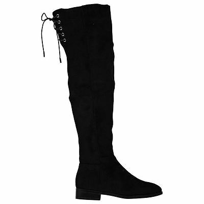 Miso Womens Woo Over The Knee Boots Quarter Zip Suede Small Heel Casual Shoes