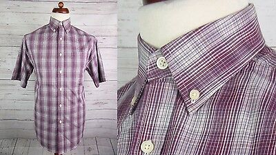 Short Sleeve Burgundy Check Vtg Cotton Rich Button Down Shirt Mod Skin -S- DM35