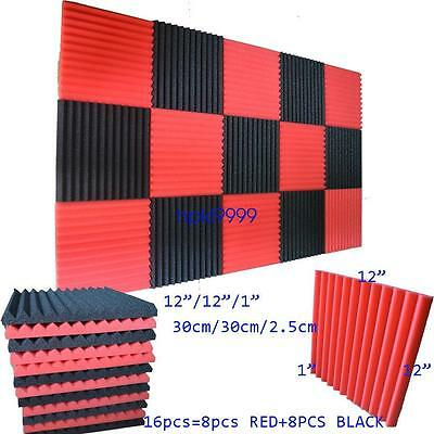 """1""""x12x12 (16 Pack) BLACK/RED Acoustic Wedge Soundproofing Studio Foam Tiles"""