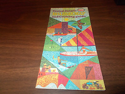1962 Esso Central Ontario Holiday Map and Cruising Guide Vintage Road Map
