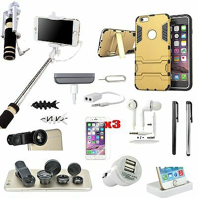 16 in 1 Case Cover Dock Charger Selfie Monopod Fish Eye Kit For iPhone 5S 5SE SE