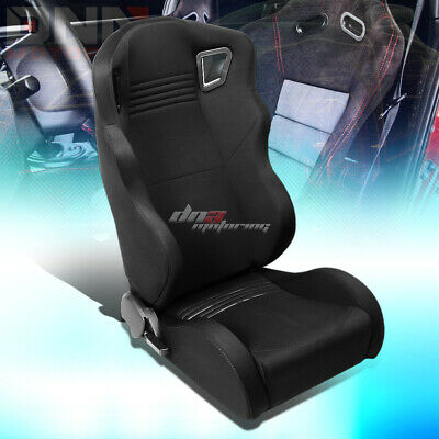 Full Reclinable Black Woven Wide Head Rest Bucket Racing Seat Passenger Side