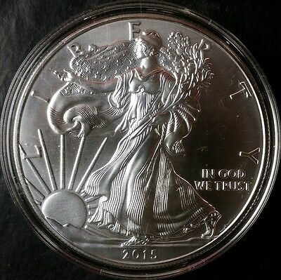 2015 $1 American Silver Eagle Dollar in a Capsule