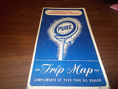 1949 Pure Oil Florida/Southeastern States Vintage Road Map