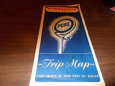 1951 Pure Oil Minnesota Vintage Road Map