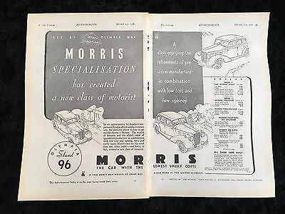 RARE 1936 MORRIS Series Double Page A4 Original B&W Vintage Car Advert