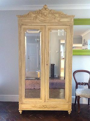 Stunning Antique Double Door Painted Armoire With Original Mirrored Glass.