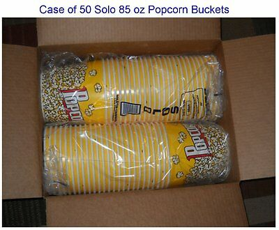 Carton of FIFTY (50) NEW Solo Brand POPCORN BUCKETS (Tubs) 85-ounce