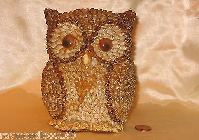 "5-1/2"" Owl Figurine Hand Crafted With Mini Sea Shells; Made In Philippines"