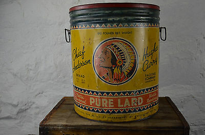 CHIEF ANDERSON Hughes Curry Indiana 50 pound LARGE lard container