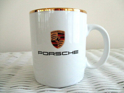 """Porsche Gold Trim Mug Cup with Colored Crest - 3 1/2"""" H - Made in Germany"""