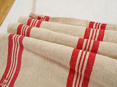 19X46 Vtg Antique THICK RED STRIPE French HEMP LINEN Fabric FEED SACK GRAIN BAG
