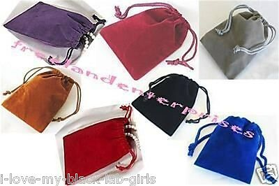 """Jewelry Pouches Velour-Velvet type Pouches 1 of each X 7 Colors ~ 3"""" x 4"""" ~ = 7"""
