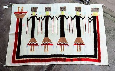 "Antique Authentic Navajo Shiprock Yei Rug 30""h x 44""w"