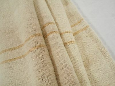 20X51 Vtg Antique GOLD STRIPE European HEMP LINEN French FEED SACK GRAIN BAG