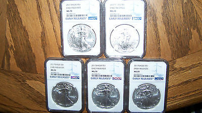 Lot of 5 2017 1oz Silver Eagle NGC MS70 Early Releases Blue Consecutive